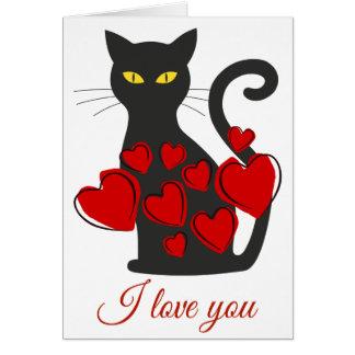 Tarjeta de felicitación grande simple del gato
