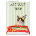 Tarjeta de felicitación gruñona del fiesta del gat