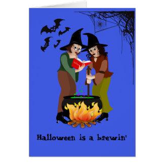Tarjeta de felicitación - Halloween, algo Brewin