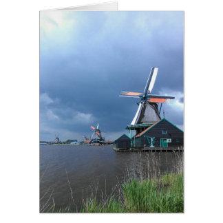 Tarjeta de felicitación holandesa de los molinoes