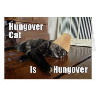 Tarjeta de felicitación Hungover del gato de la