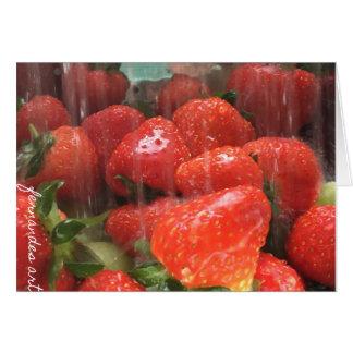 Tarjeta de felicitación lavada de las fresas