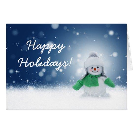 Tarjeta de felicitación linda del muñeco de nieve