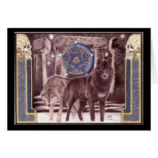 Tarjeta de felicitación mágica del lobo céltico