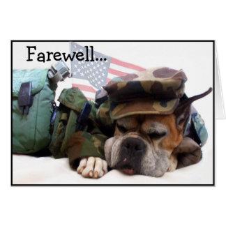 Tarjeta de felicitación militar de despedida del p