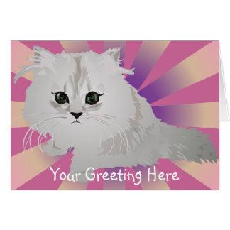 Tarjeta de felicitación mullida del gatito