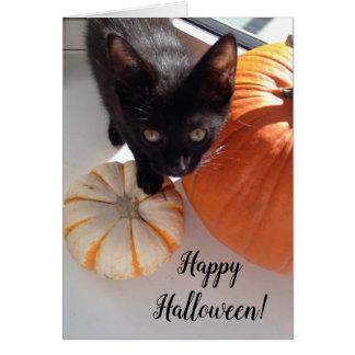 Tarjeta de felicitación negra del feliz Halloween