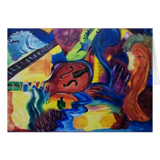 Tarjeta de felicitación original del arte del jazz