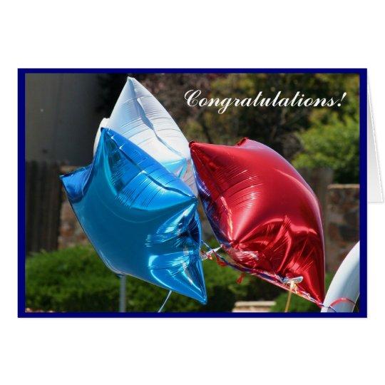 Tarjeta de felicitación patriótica de los globos