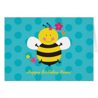 Tarjeta de felicitación personalizada abeja linda