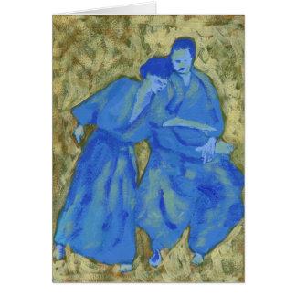 Tarjeta de felicitación practicante azul y verde