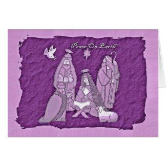 Tarjeta de felicitación púrpura de la escena de la