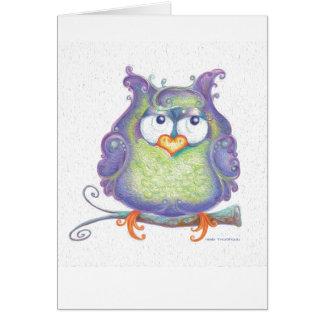 Tarjeta de felicitación púrpura del búho