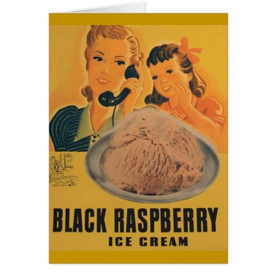 tarjeta de felicitación rasberry negra del helado