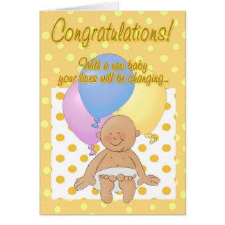 Tarjeta de felicitación recién nacida del dibujo