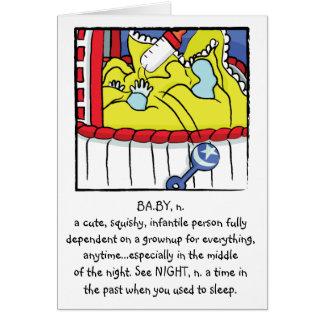 Tarjeta de felicitación recién nacida del muchacho