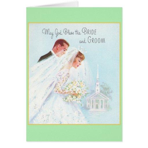 Tarjeta de felicitación religiosa retra del boda