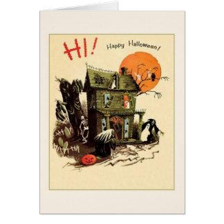 Tarjeta de felicitación retra de Halloween de la