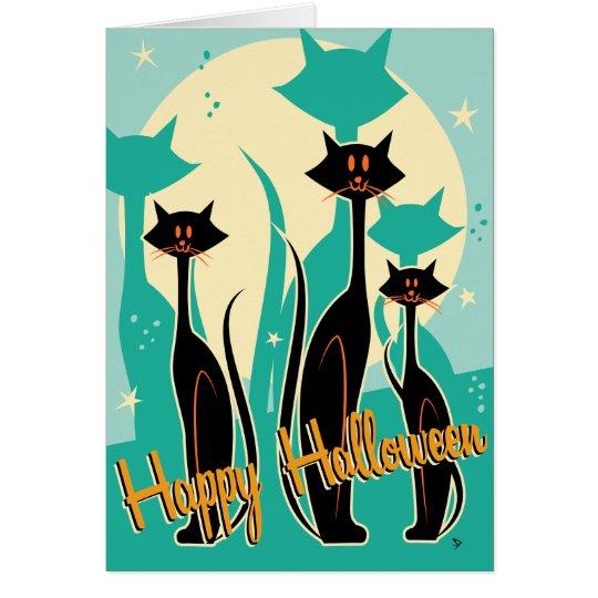 Tarjeta de felicitación retra de Halloween del