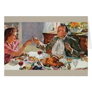 Tarjeta de felicitación retra de la cena de la