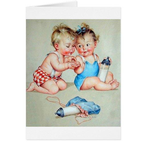 Tarjeta de felicitación retra de los bebés
