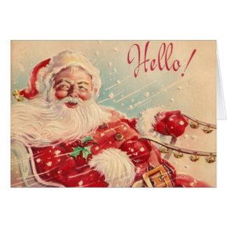 Tarjeta de felicitación retra de Papá Noel del