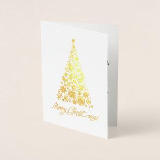 Tarjeta de felicitación retra del árbol de navidad tarjeta con relieve metalizado