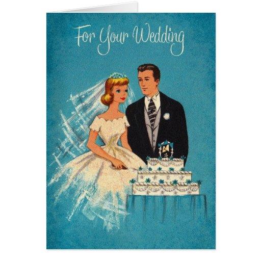Tarjeta de felicitación retra del boda