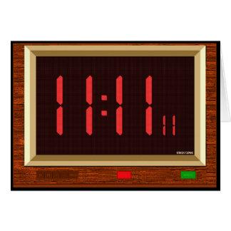 Tarjeta de felicitación (roja) del reloj del 11:11