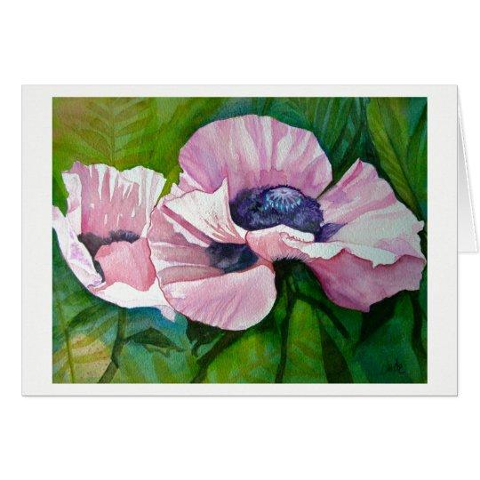 Tarjeta de felicitación rosada de las amapolas