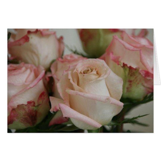 Tarjeta de felicitación rosada de los rosas