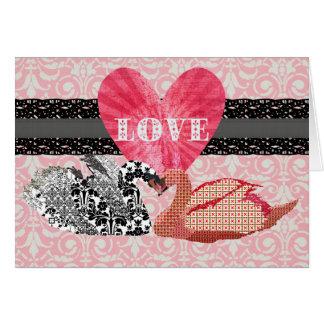 Tarjeta de felicitación rosada del amor de los cis