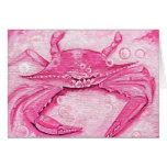 Tarjeta de felicitación rosada del cangrejo