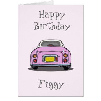 Tarjeta de felicitación rosada del coche del feliz