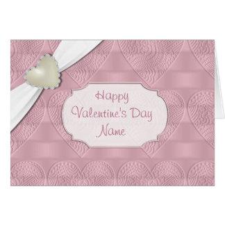 Tarjeta Tarjeta de felicitación rosada del corazón de la