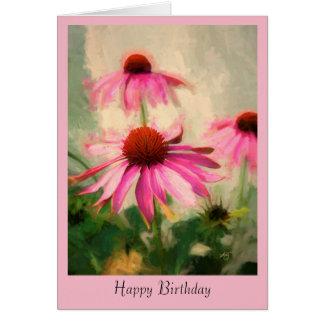 Tarjeta de felicitación rosada del cumpleaños de