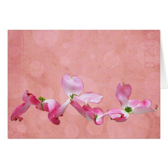 Tarjeta de felicitación rosada del Dogwood I