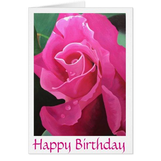 Tarjeta de felicitación rosada deliciosa del feliz