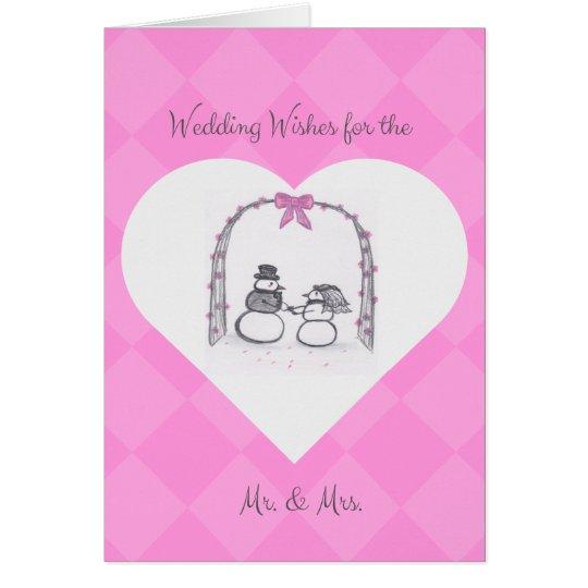 Tarjeta de felicitación rosada en blanco del boda