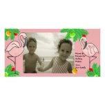 Tarjeta de felicitación rosada tropical de la foto tarjeta fotografica personalizada