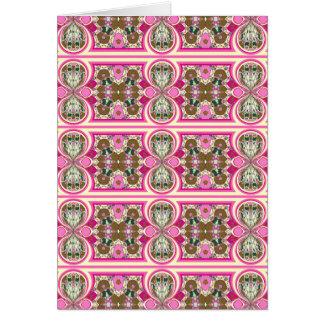 Tarjeta de felicitación rosada y de lino bonita de