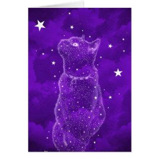 Tarjeta de felicitación Stargazing del gato