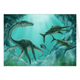 Tarjeta de felicitación subacuática del dinosaurio