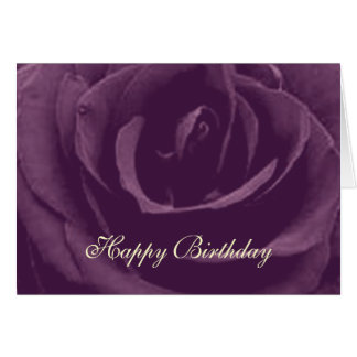 Tarjeta de felicitación subió vintage púrpura del