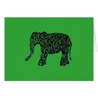 Tarjeta de felicitación tribal del elefante del