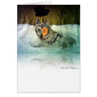 Tarjeta de felicitación valiente del lobo