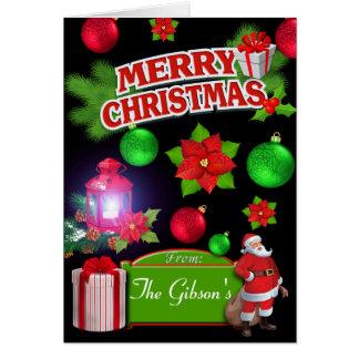 Red Black Green Santa Poinsettia Greeting Card