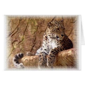 Tarjeta de felicitación vigilante del leopardo