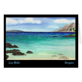 Tarjeta de felicitación viva de la hawaiana,