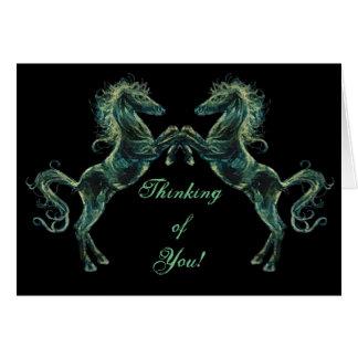Tarjeta de felicitaciones árabe de los caballos